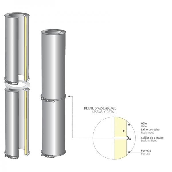 Tuyau reglable 25 à 40 CM cheminée double paroi