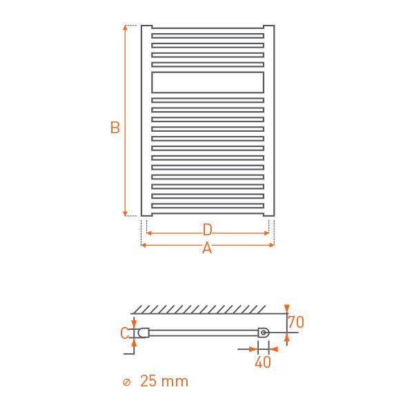 Sèche-serviettes à eau chaude Acier RAIL 800x400