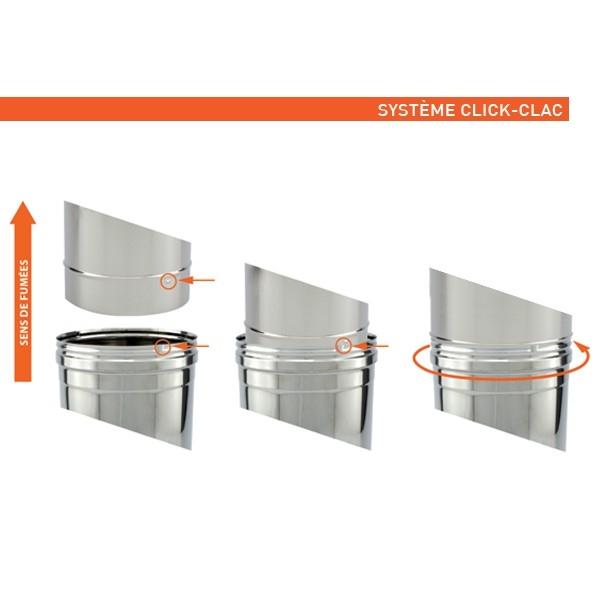 Conduit de cheminée -Adaptateur conduit simple à double paroi PRO