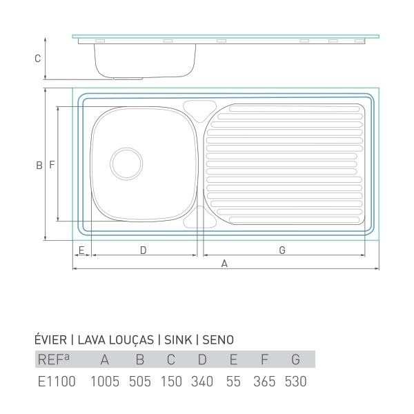Évier à encastrer HORIZON 1 bac + égouttoir 100 x 50