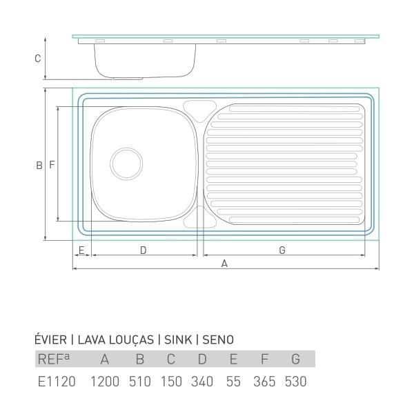 Évier à encastrer HORIZON 1 bac + égouttoir 120 X 50