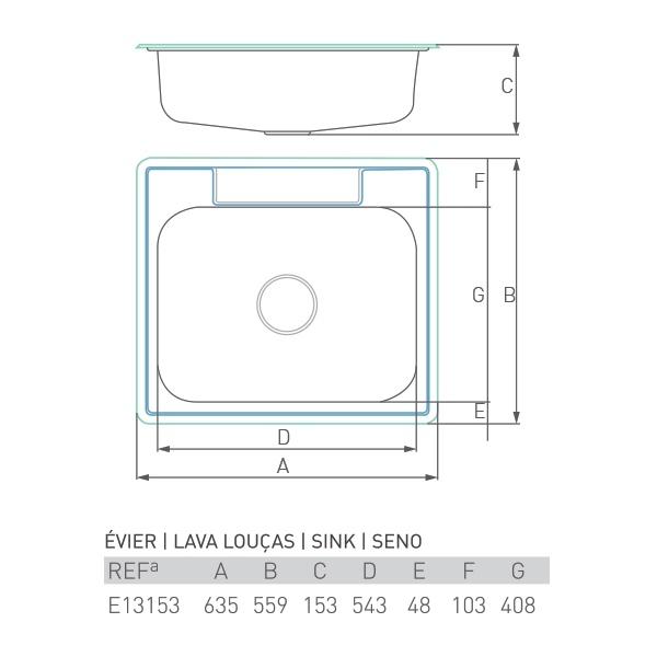 Évier à encastrer ONYX inox 1 bac 60 X 55