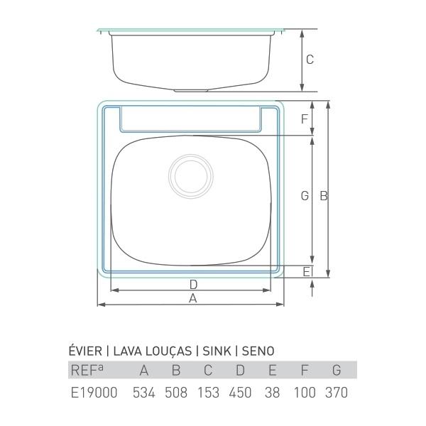 Évier à encastrer ONYX inox 1 bac 50 x 50