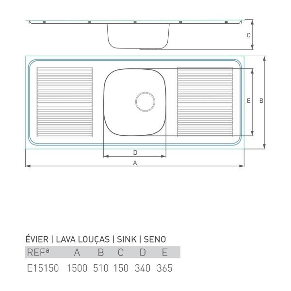 Évier inox à encastrer PRO 1 bac + 2 égouttoir 150 X 50