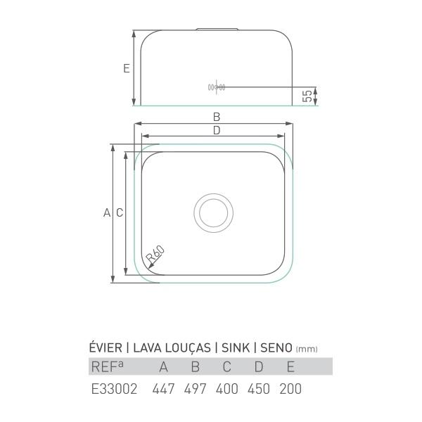 Évier inox à encastrer AGATE 1 bac 45 X 40 X 20