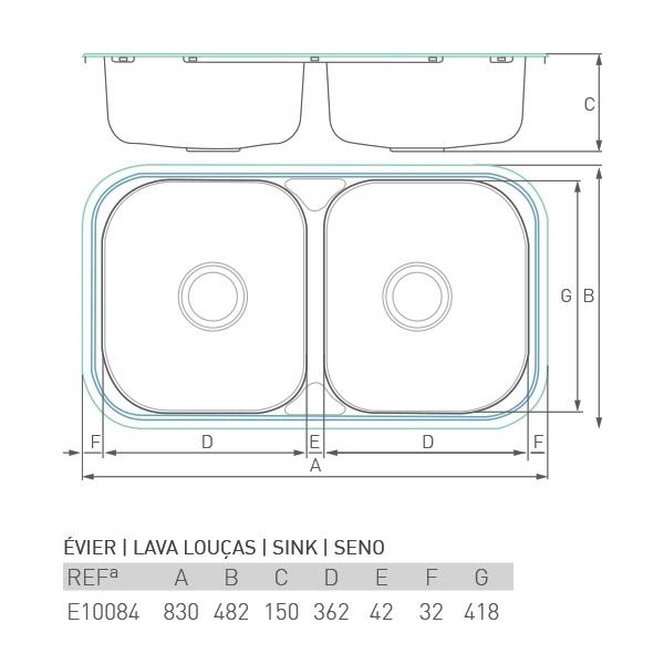 Évier inox à encastrer LAC 2 bacs 80 X 50