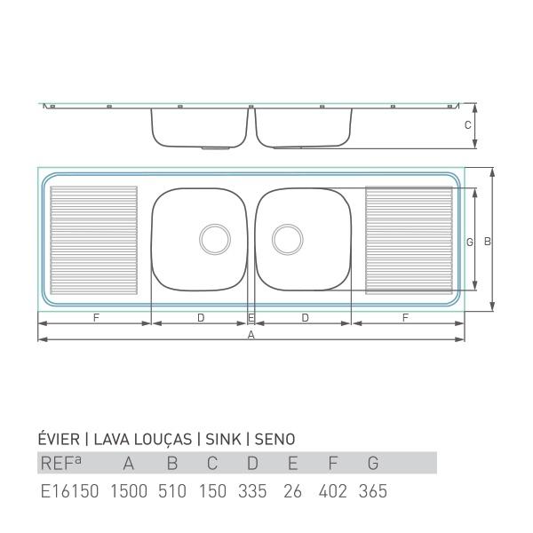 Évier à encastrer PRO DOUBLE 2 bacs + 2 égouttoirs 150 X 50