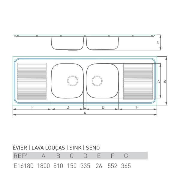 Évier à encastrer PRO DOUBLE 2 bacs + 2 égouttoirs 180 X 50