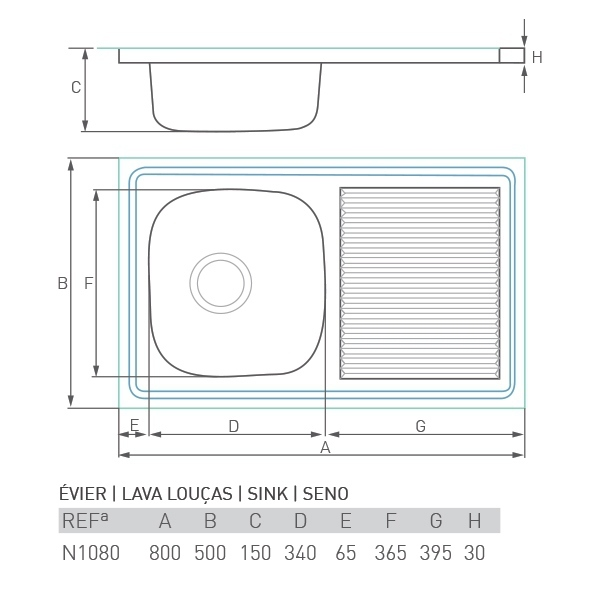 Évier inox à poser CASCADE 1 bac + égouttoir 80 X 50