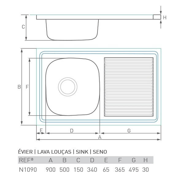 Évier inox à poser CASCADE 1 bac + égouttoir 90 X 50