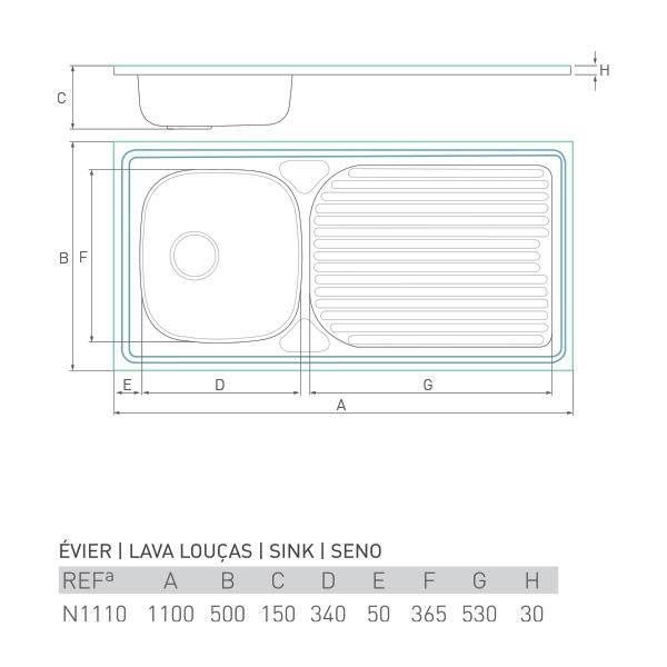 Évier inox à poser HORIZON 1 bac + égouttoir 110 X 50