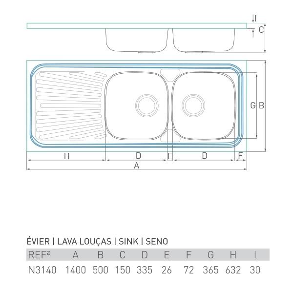 Évier inox à poser NOUVELLE 2 bacs + égouttoir 140 X 50