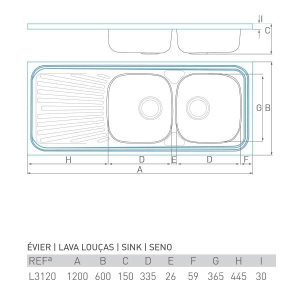Évier inox à poser NOUVELLE 2 bacs + égouttoir 120 X 60