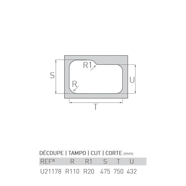 Évier inox sous plan OCÉAN 1½ bac 80 x 50