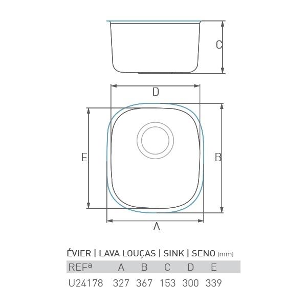 Évier inox sous plan JADE 1 bac 30 X 35