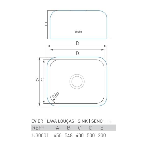 Évier inox sous plan TOPAZE 1 bac 50 X 40 X 20