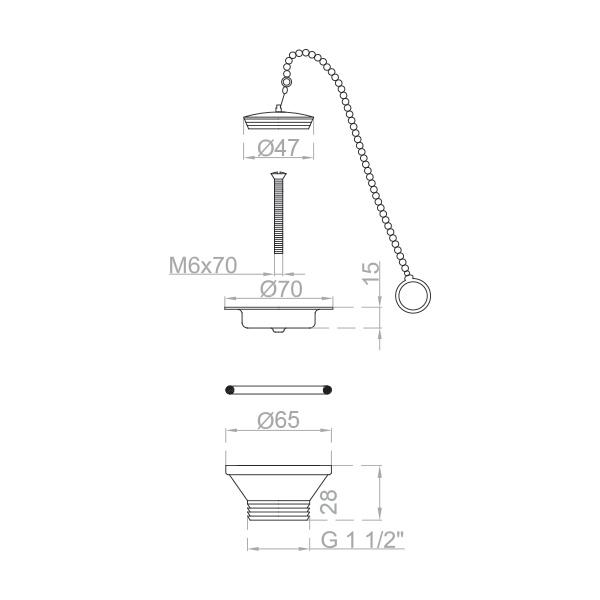 Bonde pour envier cuisine avec chaine sécurité Ø 70 mm