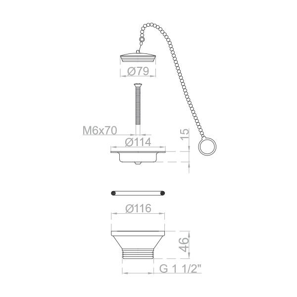 Bonde pour evier cuisine avec chaine sécurité Ø 115 mm