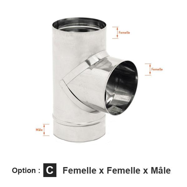 Conduit cheminée - Té 90° simple paroi ECO