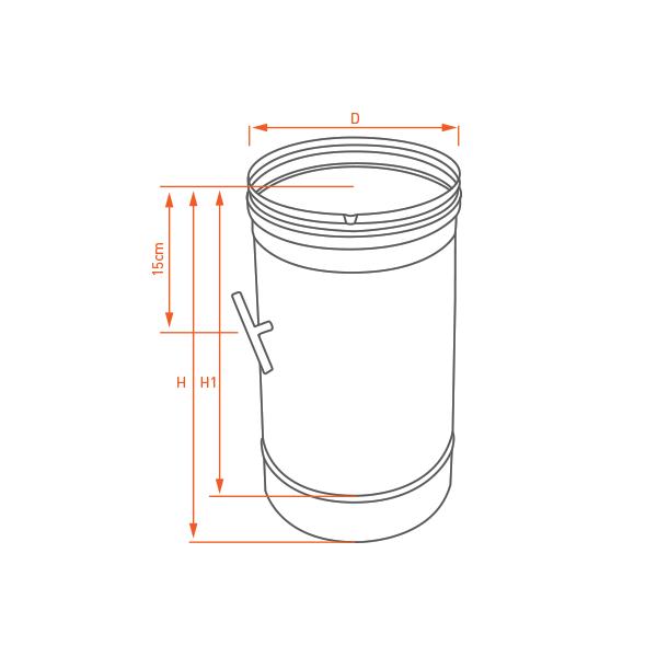 Conduit de cheminée - Tuyau 33CM à régulateur de tirage simple paroi