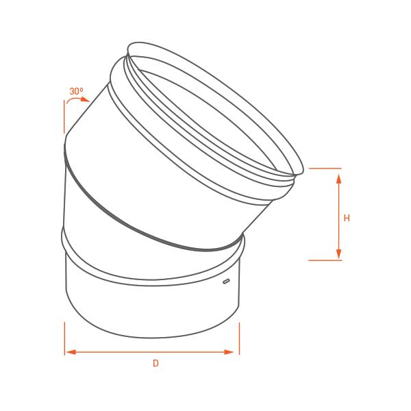Conduit de cheminée - Coude 30° simple paroi PRO