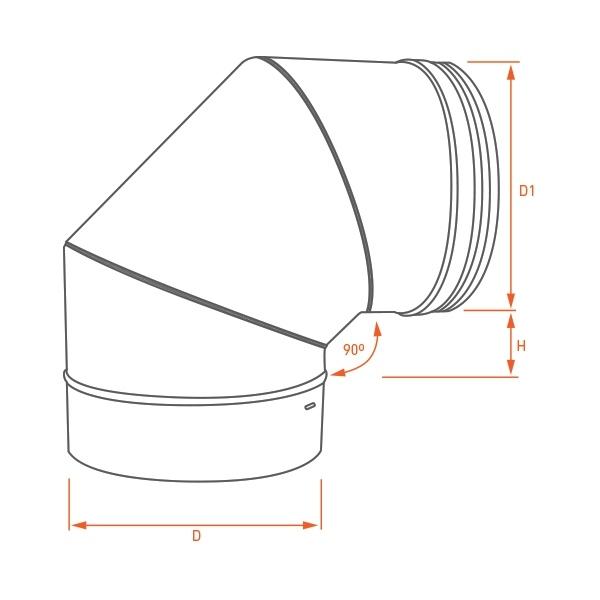 Conduit de cheminée - Coude 90° simple paroi PRO