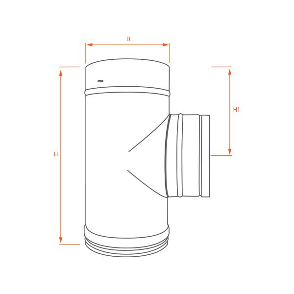Conduit de cheminée - Té 90° simple paroi