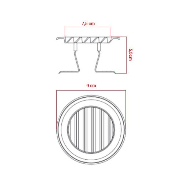 Grille polypropylène d'aération à clipser Ø55/85