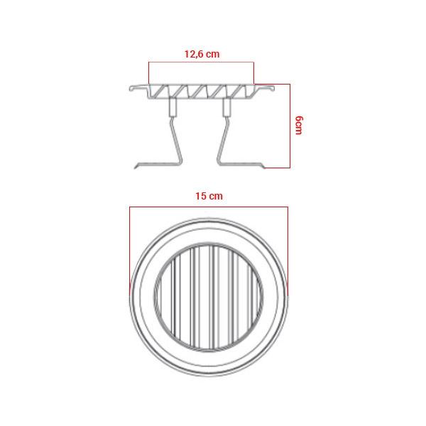 Grille polypropylène d'aération à clipser Ø80/125