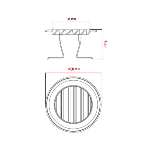 Grille polypropylène d'aération à clipser Ø120/160