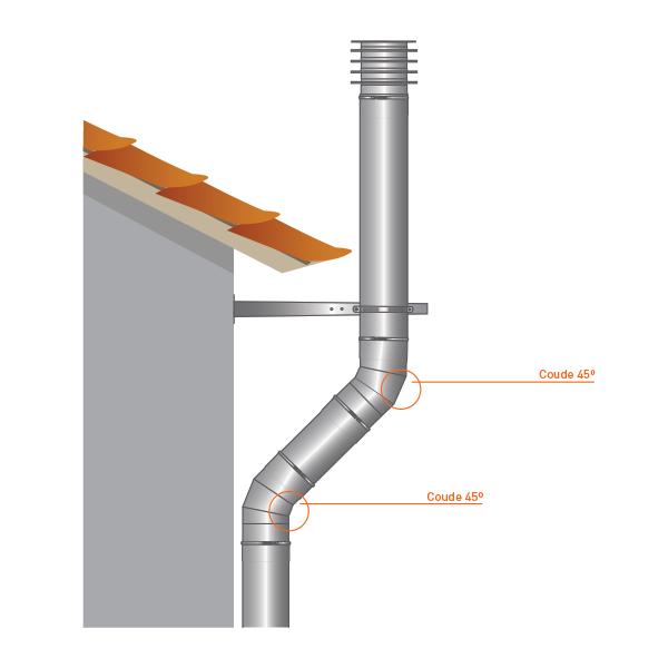 Conduit de cheminée - Coude 45° simple paroi PRO