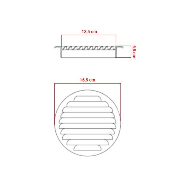 Grille d'aération à encastrer aluminium Ø140