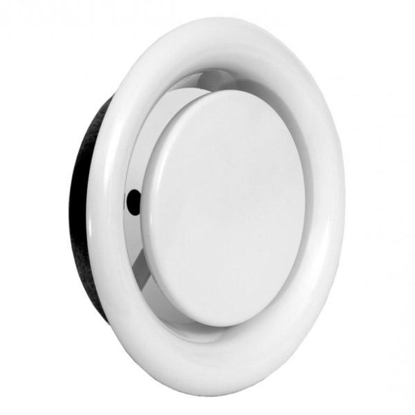 Bouche d'extraction en métal blanc Ø100