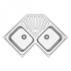 Évier inox à encastrer SHARP 2 bacs + égouttoir 83 x 83