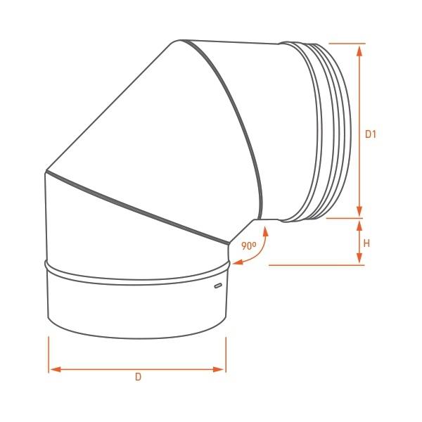 Coude à 90° - Conduit poêle bois Noir / Anthracite PRO