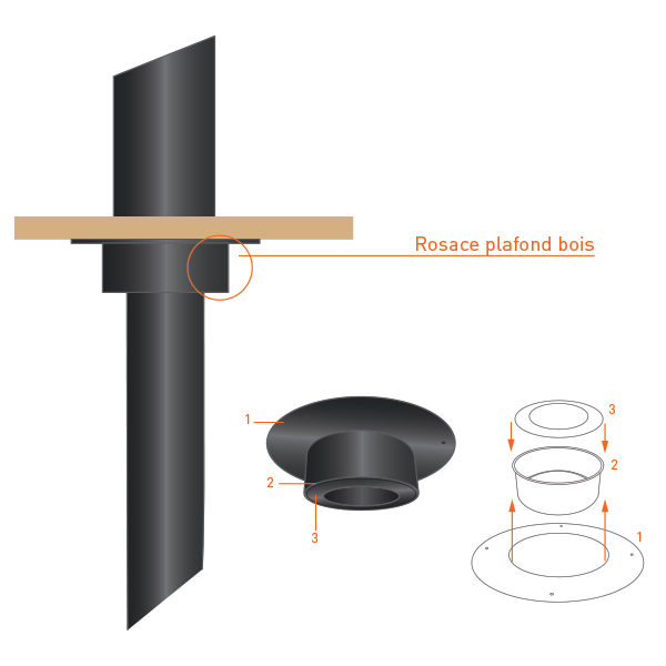 Rosace plafond bois - Conduit Noir ou Anthracite