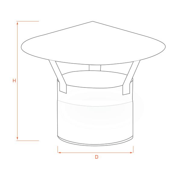 Chapeau chinois conduit cheminée simple paroi ECO