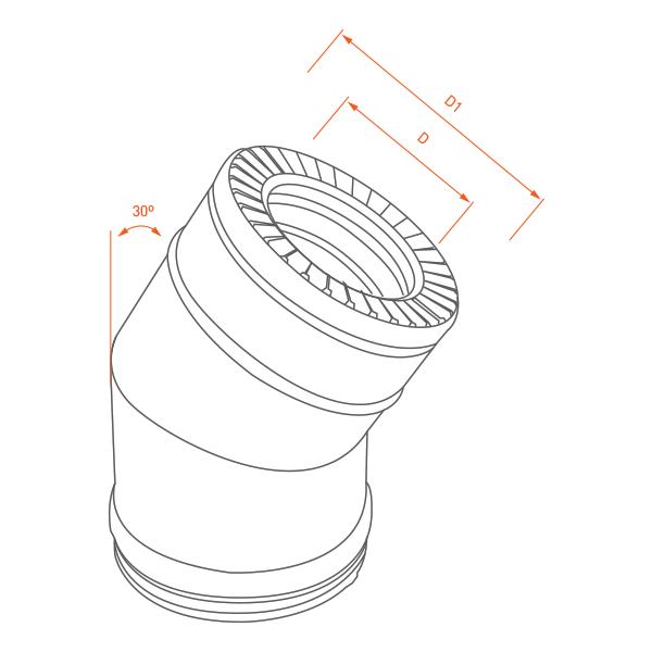 Coude à 30° conduit cheminée double paroi isolé