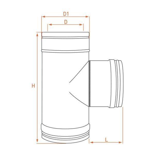 Té à 90° - Conduit cheminée double paroi isolé