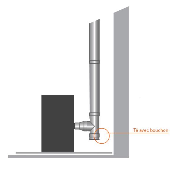 Bouchon pour Té conduit de cheminée double paroi