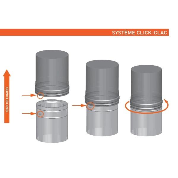 Tuyau 33CM régulateur tirage double paroi Noir / Anthracite
