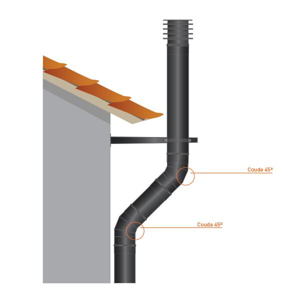 Coude à 45° - Conduit fumée double paroi Noir / Anthracite