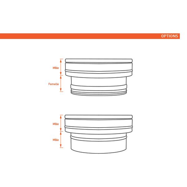 Adaptateur conduit simple à double paroi PRO Noir/Anthracite